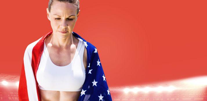 Portrait of american sportswoman unsmiling