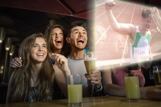 Composite image of friends are watching athletics race