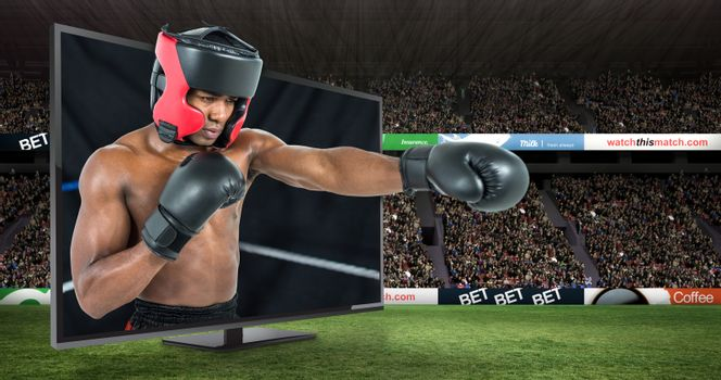 Composite image of boxer performing upright stance