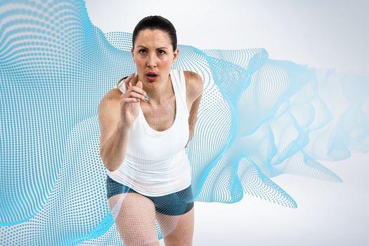 Composite image of energetic female athlete running