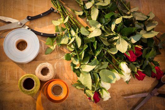 Florist accessories on table
