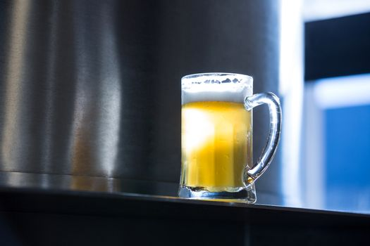 Close-up of beer pint