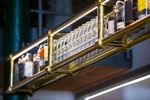 Wine glass arranged in bar rack