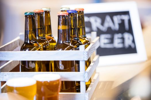 Close-up of beer bottles in crate