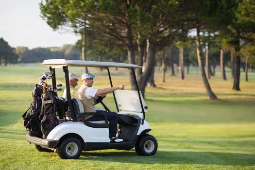 Mature golfer friends sitting in golf buggy on field