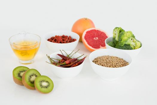 Food and drink over gray background