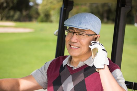 Golfer smiling and calling