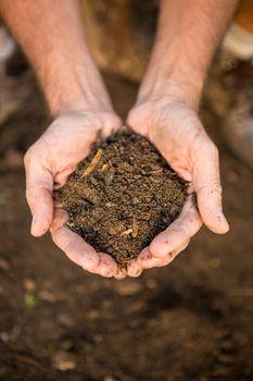 Gardener with dirt in cupped hands at garden