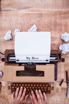 Hands using typewriter