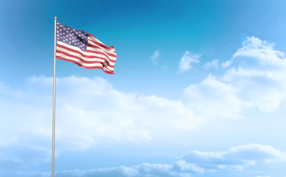 Composite image of american flag waving on pole