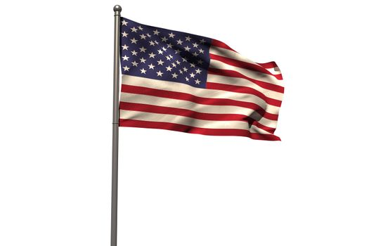Pole with waving flag of America