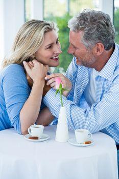 Mature couple in restaurant