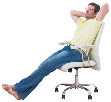 Man sitting on a swivel chair