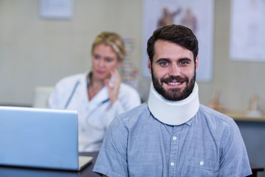 Patient with a cervical collar