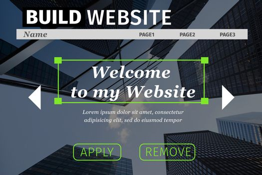 Composite image of build website interface