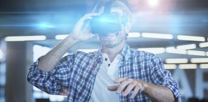 Creative businessman using virtual reality simulator