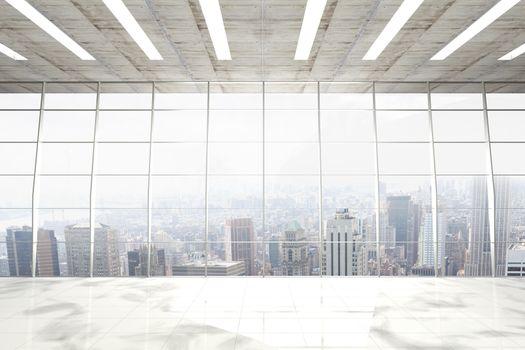 Modern room overlooking city