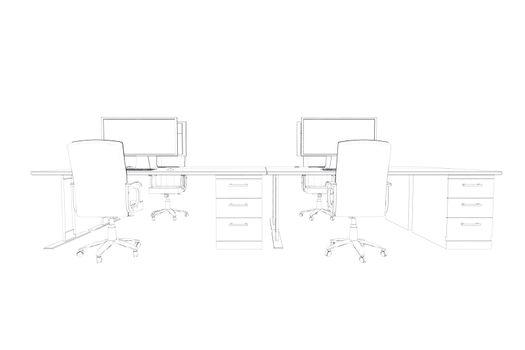 Draw of two desks