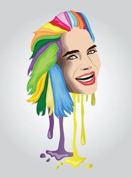Multi coloured hair woman