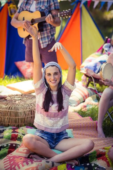 Woman having fun at campsite