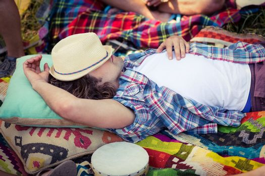 Man relaxing at campsite