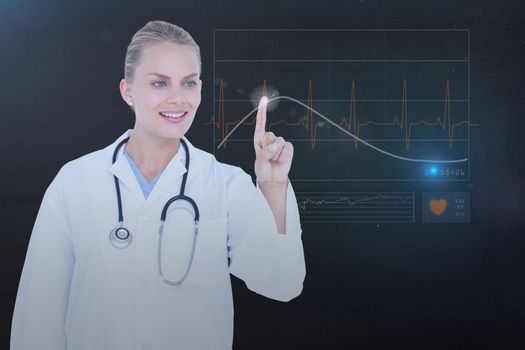 Woman pointing on heart rate hologram
