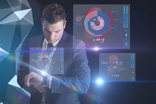 Businessman using a smart watch