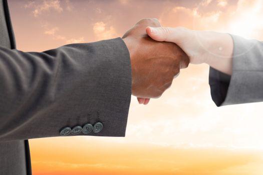 Business people giving a handshake against desert