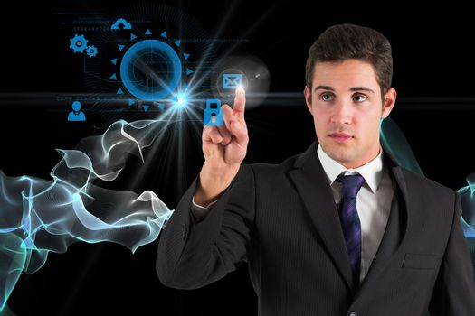 Businessman pointing on tech icons