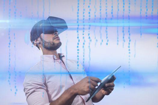 Businessman wearing a virtual reality device