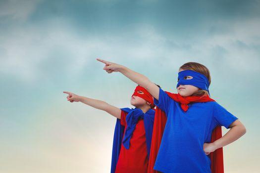 Children dressed as superhero