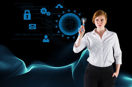 Businesswoman pointing on tech icons