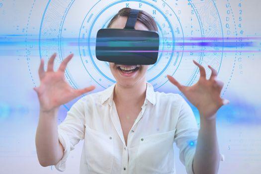 Businesswoman wearing a virtual reality device
