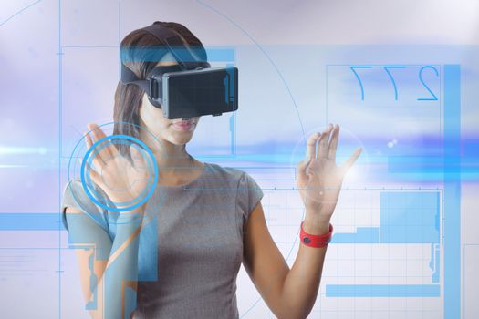 Woman wearing a virtual reality device