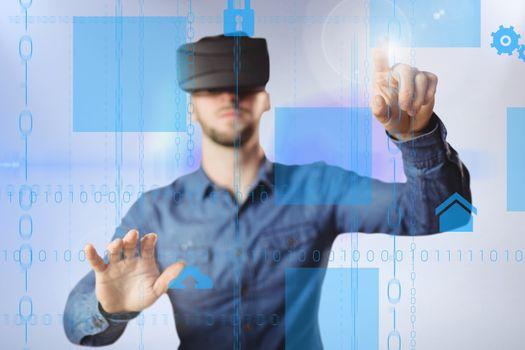Man wearing a virtual reality device