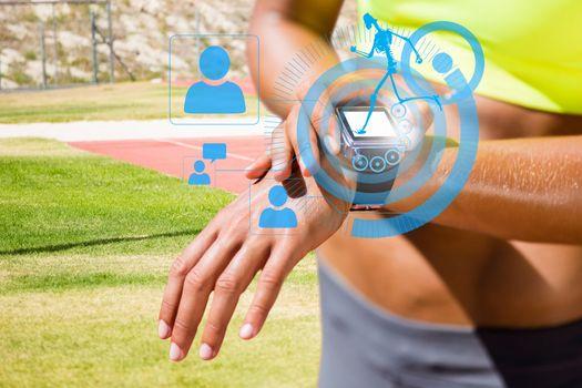 Sportswoman wearing a smart watch