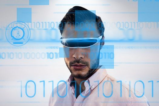 Young man wearing 3d glasses