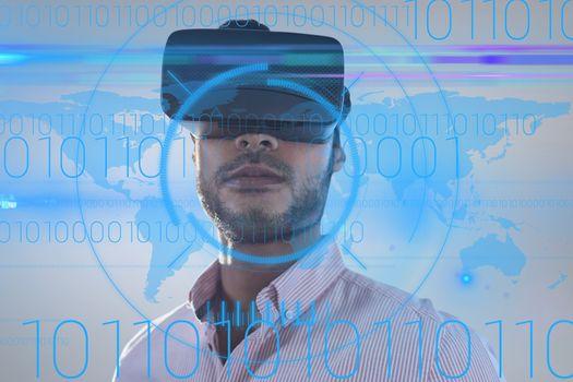Man using a virtual reality device