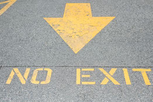 Arrow and no exit sign