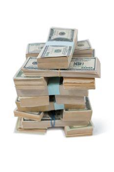 Bundle of us hundred dollars bank notes