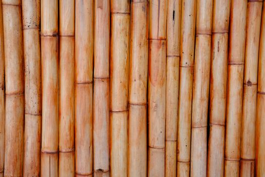 Close up of Bamboo wall or Bamboo fence texture. Old brown tone natural bamboo fence texture background