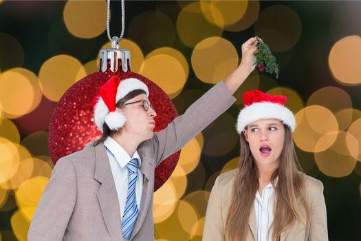 Couple having fun during christmas time