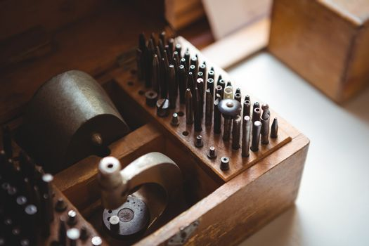 Close-up of drill bit set in a holder