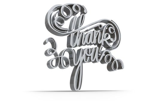 Illustration of  thank you text over white background