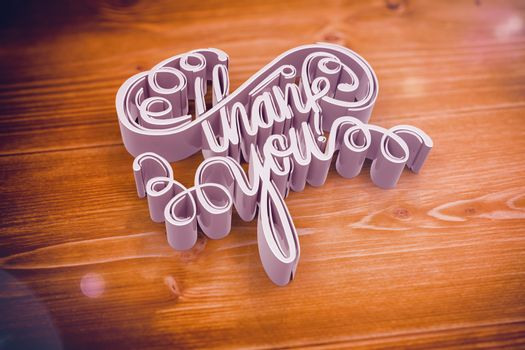 Illustration of thank you text against wooden floor