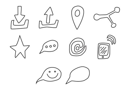 Vector icon set for communication on white background