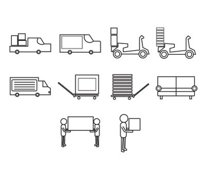 Vector icon set of freight transportation