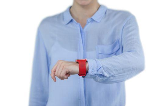 Businesswoman wearing smartwatch