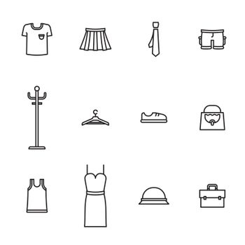 Vector icon set for wardrobe and fashion on white background