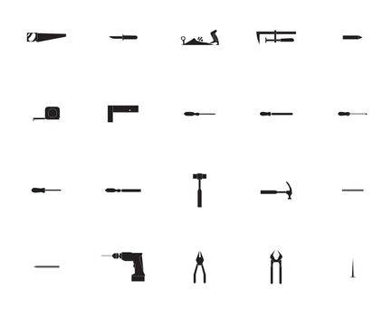Vector icon set for carpentry tools and equipment